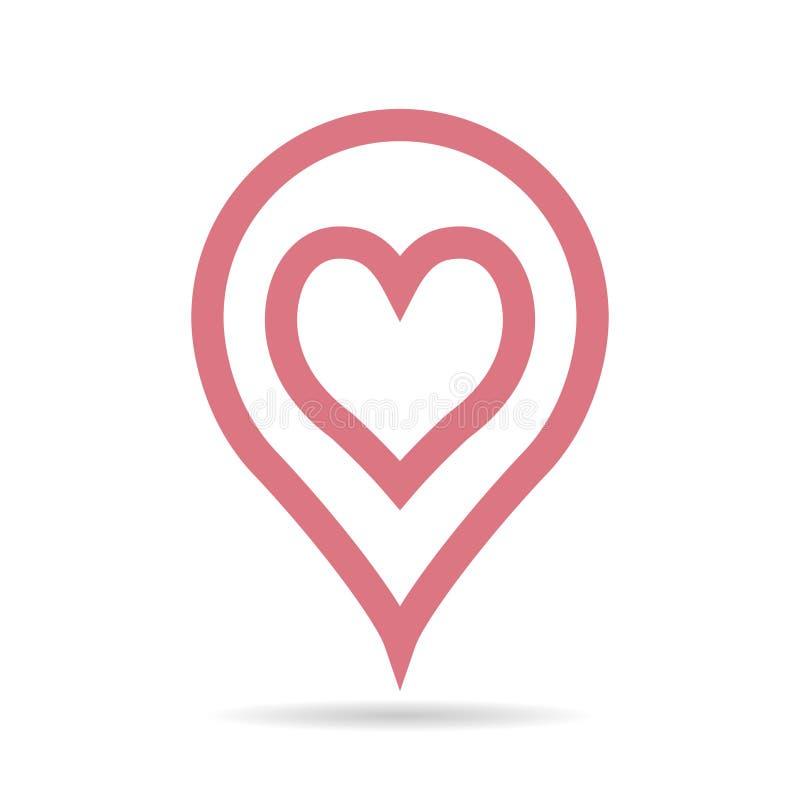 Plaats op kaartwijzer voor liefdevergadering, vectorwijzer met hart op de kaart voor datum van de jongen en het meisje, plaats va stock illustratie