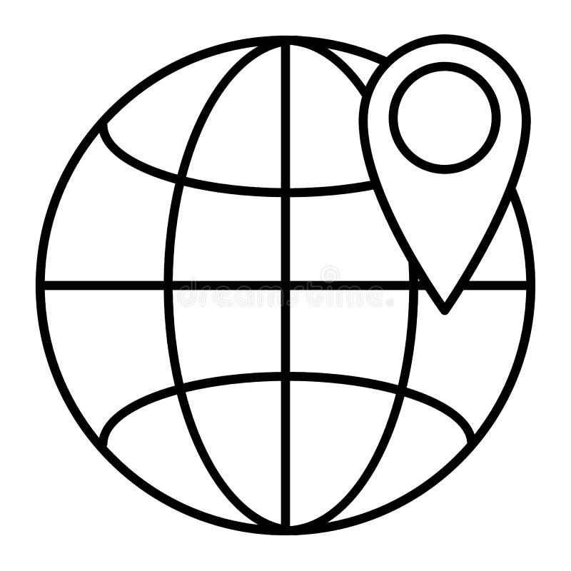 Plaats op pictogram van de bol het dunne lijn Gps op de vectordieillustratie van de wereldbol op wit wordt geïsoleerd De stijl va royalty-vrije illustratie