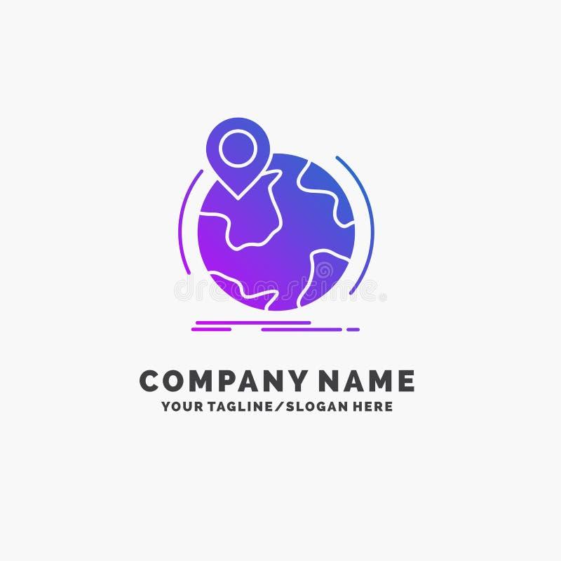 plaats, over de hele wereld bol, speld, tellers Purpere Zaken Logo Template Plaats voor Tagline stock illustratie