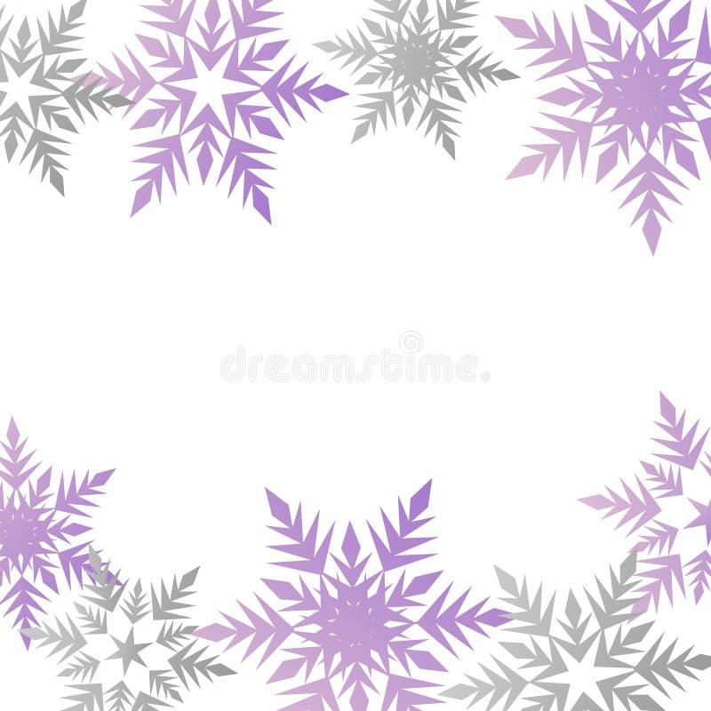 Plaats van de pastelkleur purpere grijze sneeuwvlokken van de de winterbanner de kleurrijke voor t stock illustratie