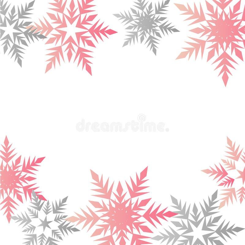 Plaats van de pastelkleur roze grijze sneeuwvlokken van de de winterbanner de kleurrijke voor tex stock illustratie