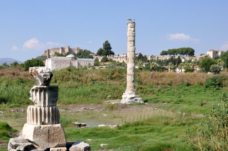 Plaats van de Tempel van Artemis, Ephesus, Selcuk stock foto