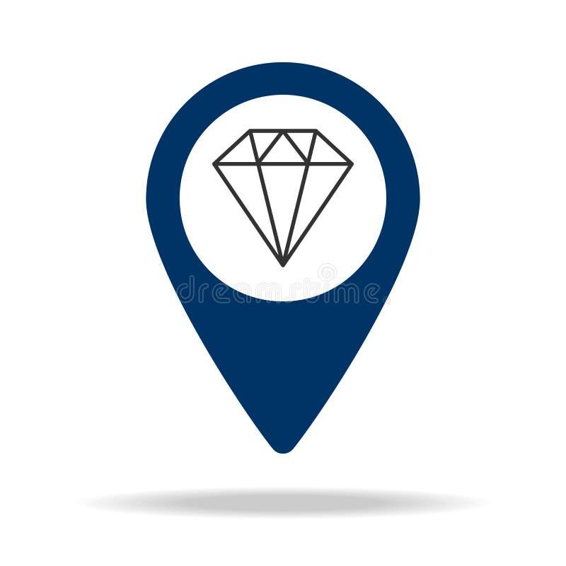 plaats van juwelenopslag in het blauwe pictogram van de kaartspeld Element van kaartpunt voor mobiel concept en Web apps Pictogra stock illustratie