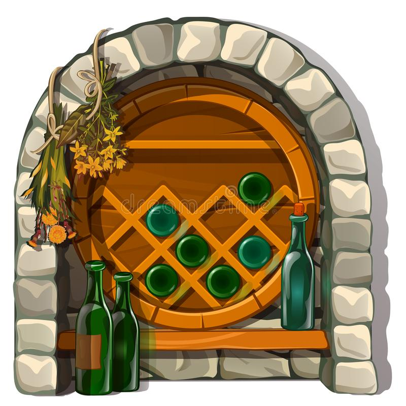 Plaats voor het opslaan van wijn in steenmetselwerk Oude structuur voor wijnbereiding Vector in beeldverhaalstijl op wit wordt ge royalty-vrije illustratie