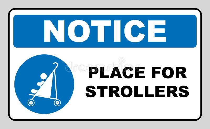 Plaats voor wandelwagensteken Blauw verplicht die pictogram op wit wordt geïsoleerd Vector illustratie Informatiesymbool Ingang v stock illustratie