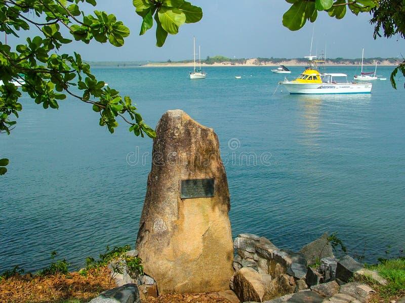 Plaats waar Kapitein Cook in 1770 landde om zijn schiphmb Inspanning te herstellen nadat het het Grote Barrièrerif sloeg stock afbeeldingen