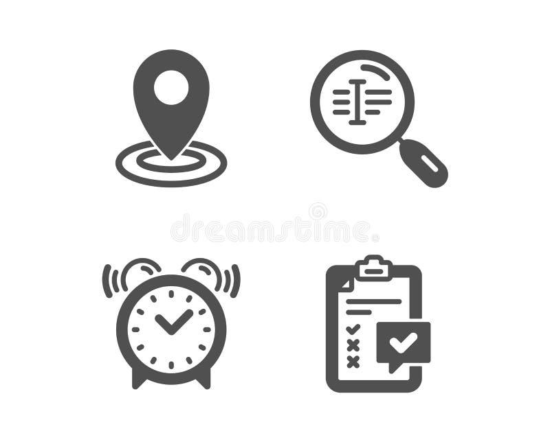 Plaats, Zoekentekst en wekkerpictogrammen Controlelijstteken De kaartwijzer, vindt woord, Tijd onderzoek Vector vector illustratie