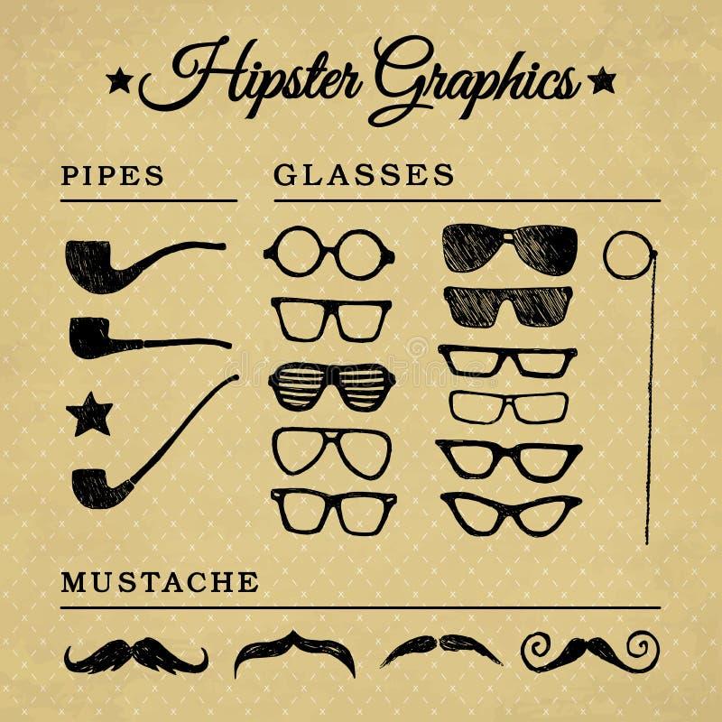 Plaatsen de Hipster grafische toebehoren 1 stock illustratie