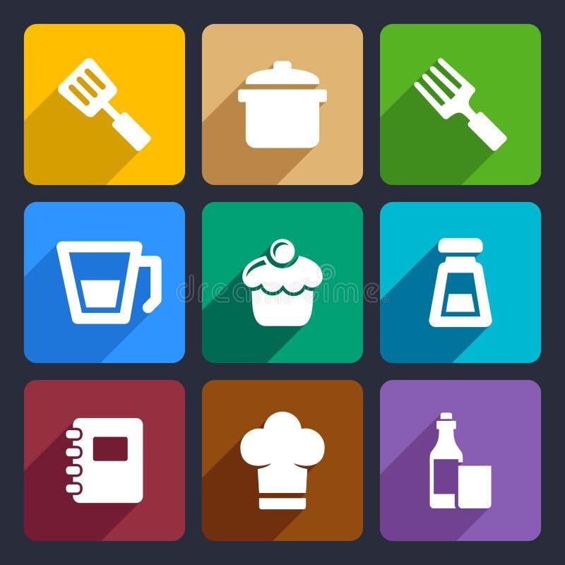 Plaatsen de keuken vlakke pictogrammen 24 vector illustratie
