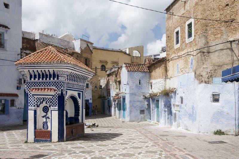Plaatsen in Marokko Blauwe medina van chefchaouen stock foto's