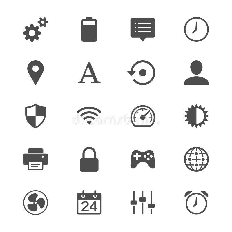 Plaatsende vlakke pictogrammen stock illustratie