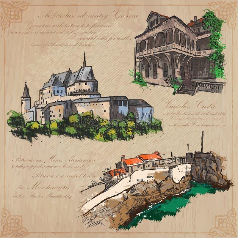 Plaatsennad architectuur - hand getrokken vectorpak royalty-vrije illustratie