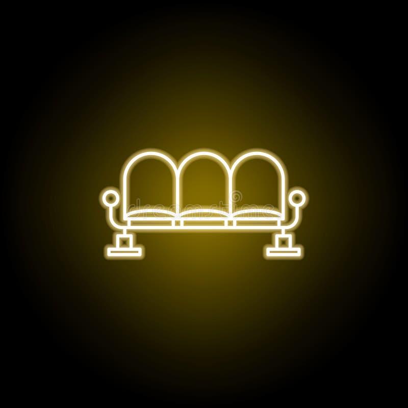 plaatsing in het wachtkamerpictogram in neonstijl De tekens en de symbolen kunnen voor Web, embleem, mobiele toepassing, UI, UX w royalty-vrije illustratie