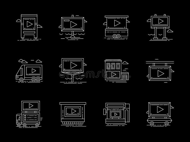 Plaatsing voor de videopictogrammen van de advertenties vlakke lijn vector illustratie