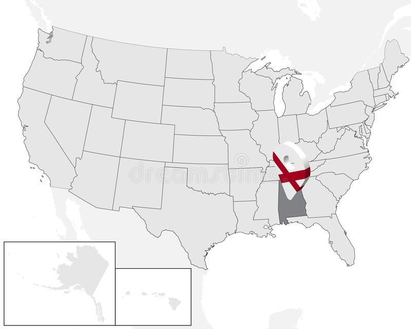 Plaatskaart Alabama op kaart de V.S. De Verenigde Staten van Amerika 3d geolocationteken zoals vlag van staat Alabama Hoog - kwal vector illustratie