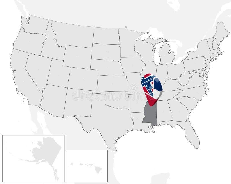 Plaatskaart van Staat de Mississippi op kaart de V.S. 3d van de de vlagkaart van de Mississippi van de Staat speld van de de tell stock illustratie