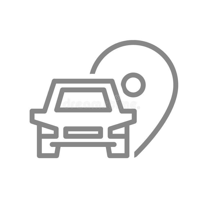 Plaatsspeld met het pictogram van de autolijn Parkerensymbool en teken vector illustratie