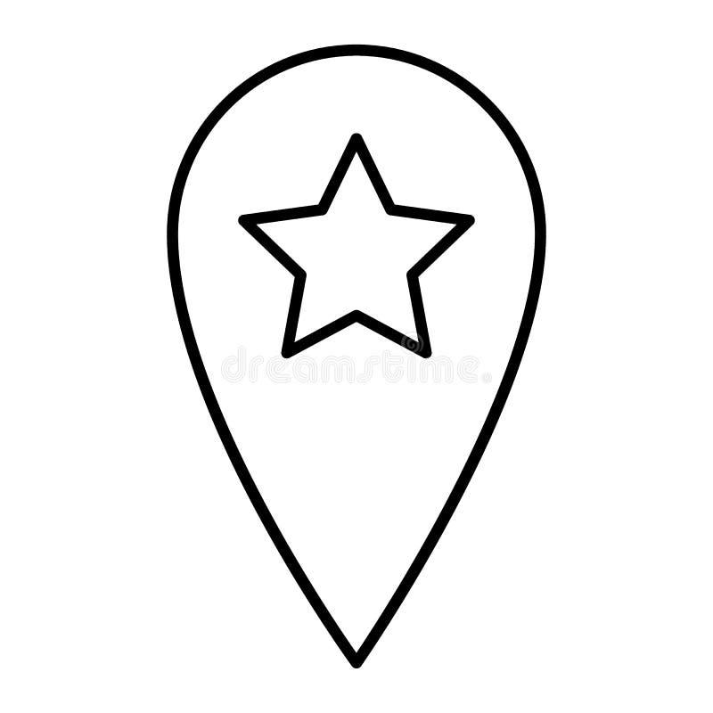 Plaatsspeld met pictogram van de ster het dunne lijn Navigatie vectordieillustratie op wit wordt geïsoleerd Gps het ontwerp van d vector illustratie