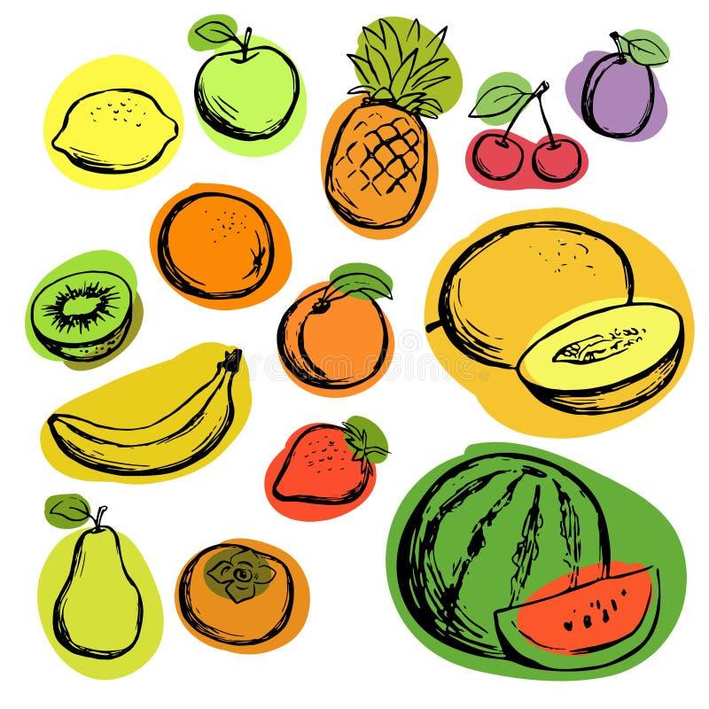 Plaatste de hand getrokken kleurenschets van vruchten, geïsoleerde vector Verscheidenheid van tropische vruchten met zwarte conto royalty-vrije illustratie
