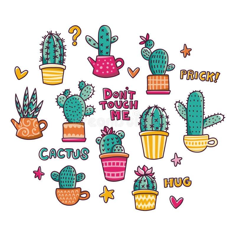 Plaatste de hand getrokken schets van de cactussenkrabbel voor stickers, drukken, ontwerp en decor vector illustratie