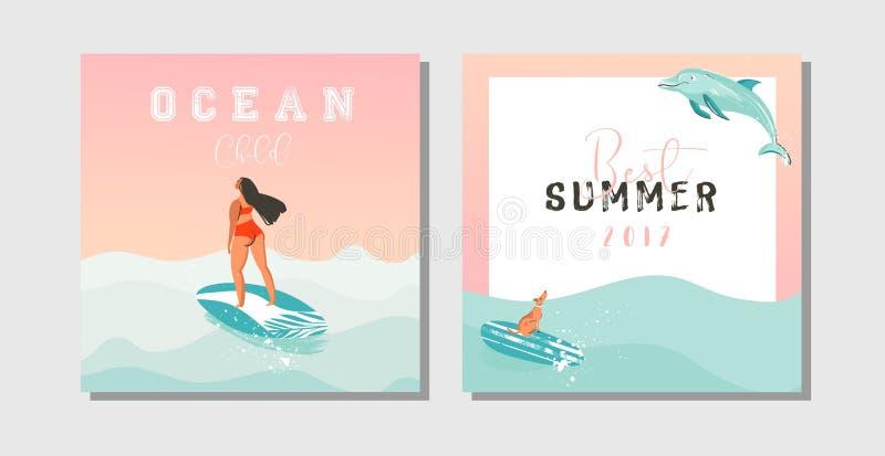 Plaatste de hand getrokken vector abstracte exotische de zomertijd grappig sparen de datumkaarten inzamelingsmalplaatje met surfe vector illustratie