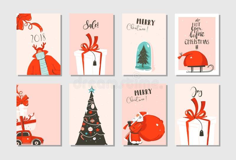 Plaatste de hand getrokken vector abstracte van het de tijdbeeldverhaal van pret Vrolijke Kerstmis de kaarteninzameling met leuke vector illustratie