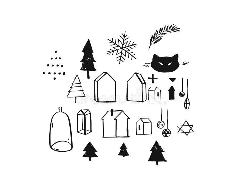 Plaatste de hand getrokken vector Vrolijke inzameling uit de vrije hand van het ontwerpelementen van de Kerstmis ruwe grafische g royalty-vrije illustratie