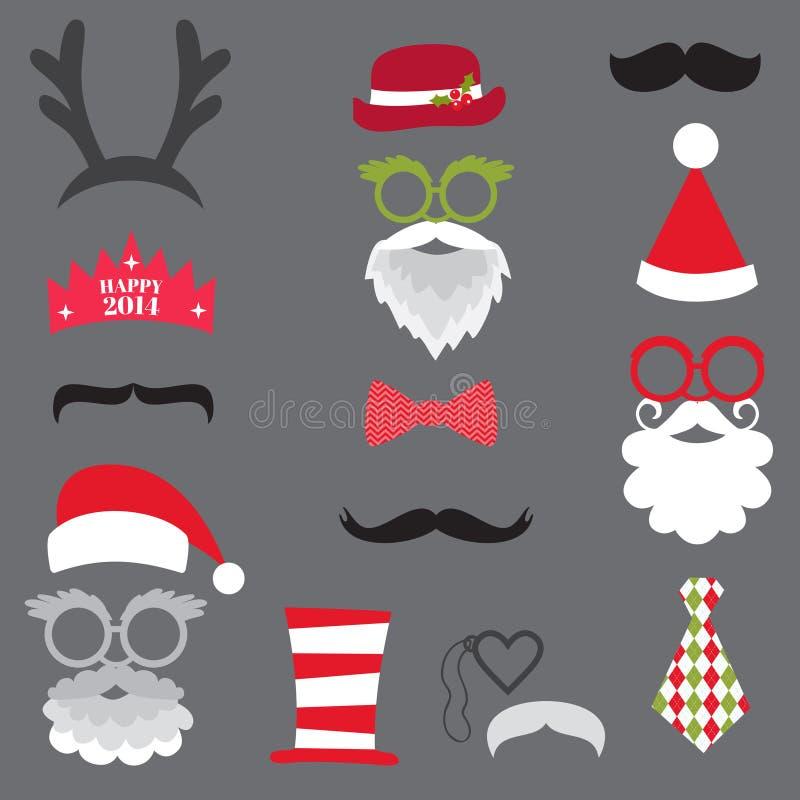 Plaatste de Kerstmis Retro Partij - Glazen, hoeden, lippen, snorren, masker royalty-vrije illustratie