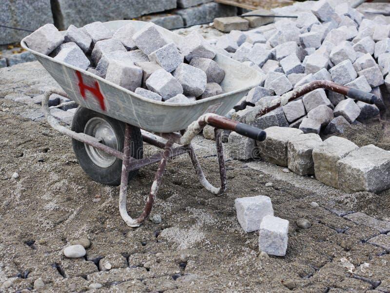 Placów budowy brukowów drogowe pracy obraz royalty free