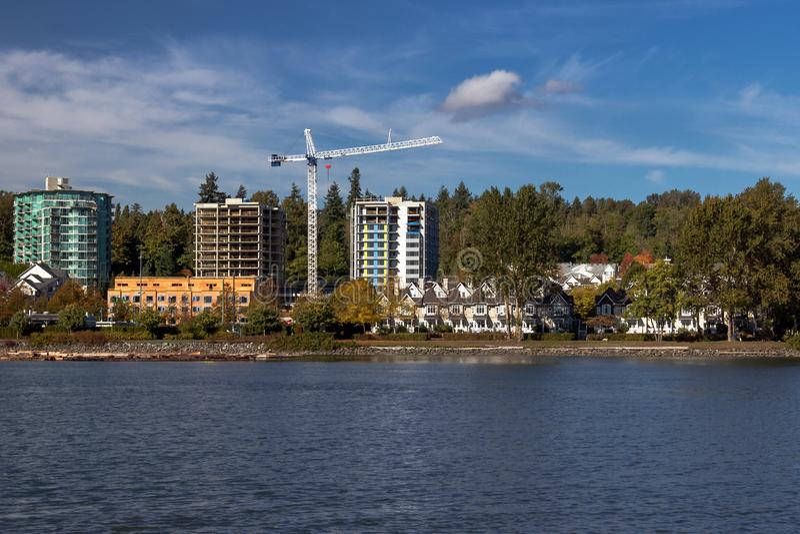 Plac budowy w brzegu rzeki w Vancouver zdjęcia stock