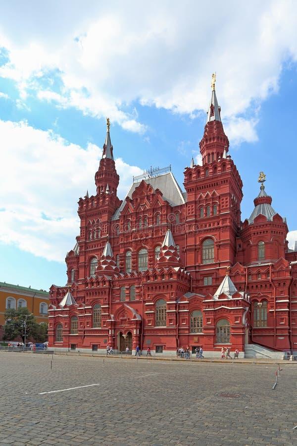 Plac Czerwony i stanu dziejowy muzeum w Rosyjskim kapitale Moskwa fotografia stock