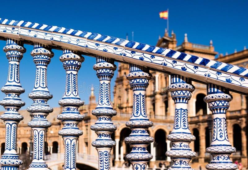 Plac De españa Obciosujący, Sevilla - obraz royalty free