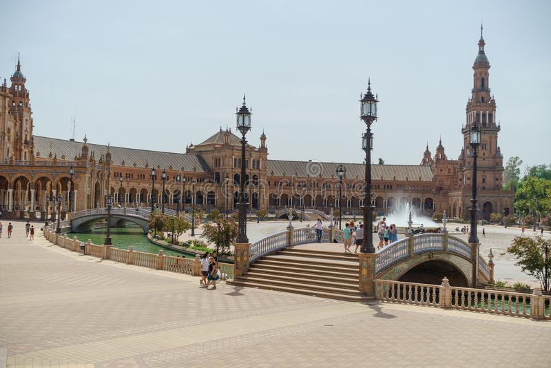 Plac De españa przy Sevilla w Hiszpania fotografia royalty free