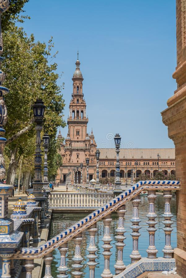 Plac De españa przy Sevilla w Hiszpania obrazy royalty free