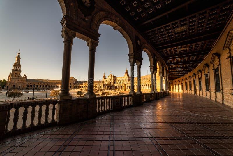 Plac De españa przy zmierzchem Seville Sevilla Hiszpania zdjęcie royalty free