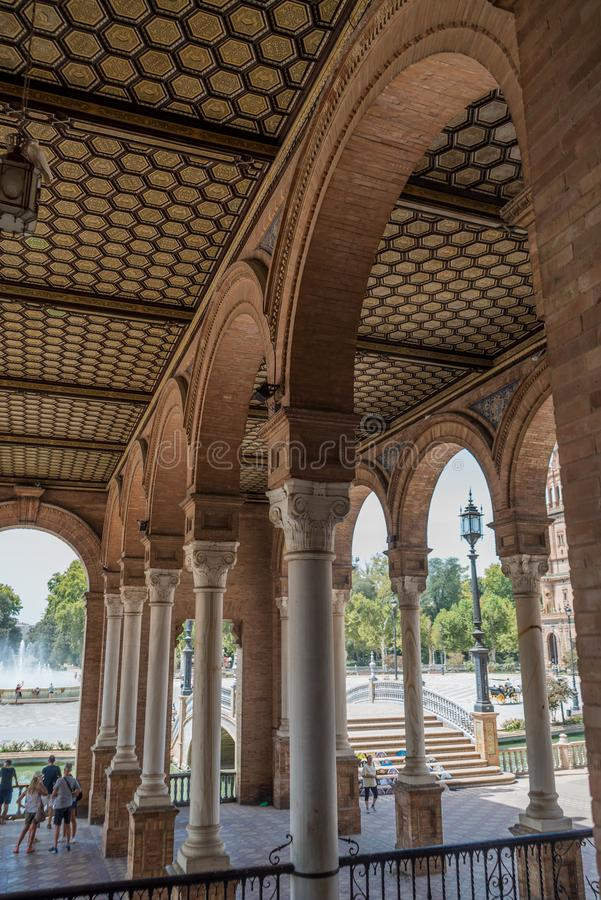 Plac De españa Sevilla w Hiszpania obraz stock