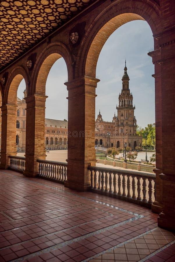 Plac De españa Sevilla w Hiszpania zdjęcia stock