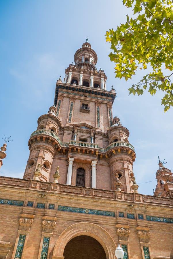 Plac De españa Sevilla w Hiszpania obraz royalty free