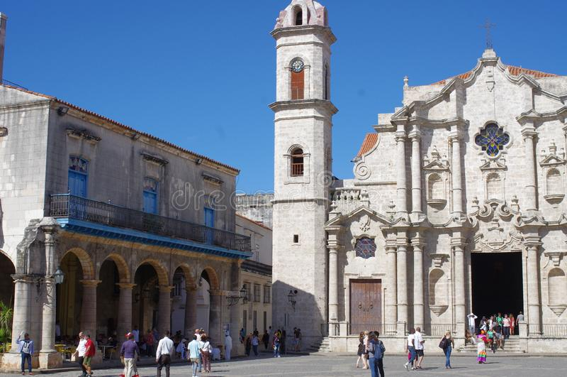 Plac De Los angeles Catedral w centrum Stary Hawański fotografia stock