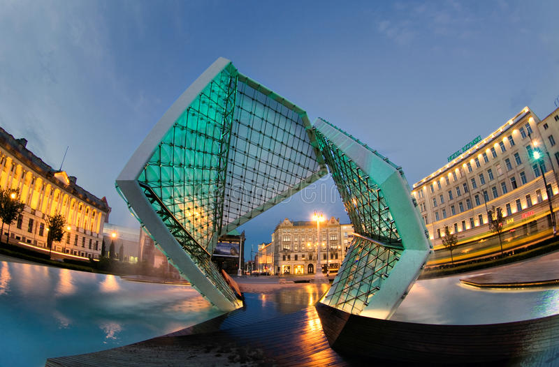 Plac Wolnosci in Poznan. Poznan is a city in west-central Poland. Plac Wolnosci (Freedom square) on Evening royalty free stock photos