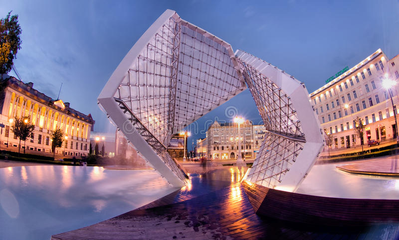Plac Wolnosci in Poznan. Poznan is a city in west-central Poland. Plac Wolnosci (Freedom square) on Evening royalty free stock images