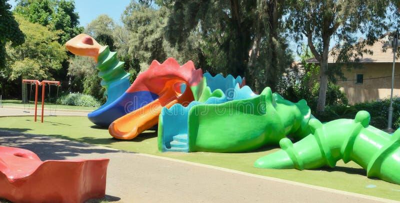 Plac zabaw dla dzieci w Holon w Izraelu: Abstrakcyjny obraz fantastycznego zwierzÄ™cia, jak pajÄ…k zrobiony z zdjęcia royalty free