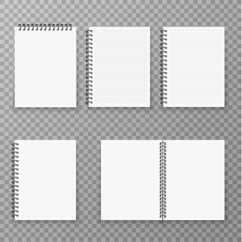 A placa aberta e a coleção realística fechado do caderno, o organizador e o diário vector o molde isolado Organizador de papel da ilustração royalty free
