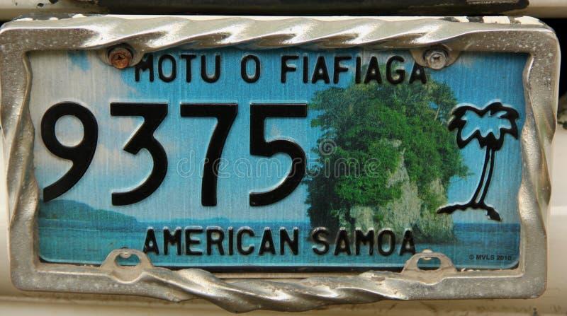 Placa American Samoa fotos de archivo libres de regalías