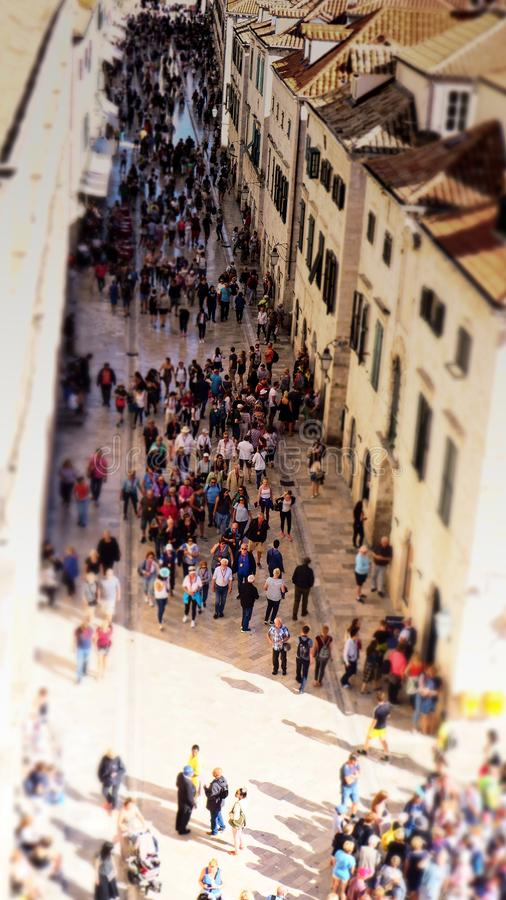 Placa ammucchiato Stradun in Città Vecchia Ragusa fotografie stock libere da diritti
