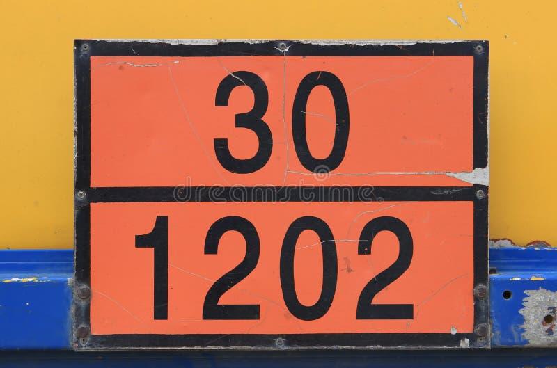 Placa anaranjada con número de identificación del peligro imágenes de archivo libres de regalías