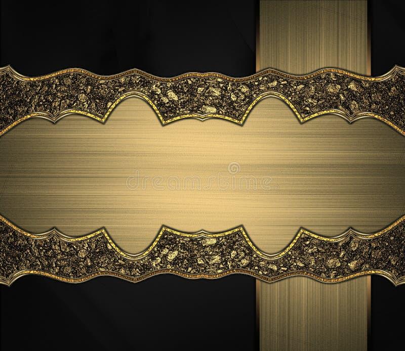 Placa antigua hermosa para el texto en textura negra ilustración del vector