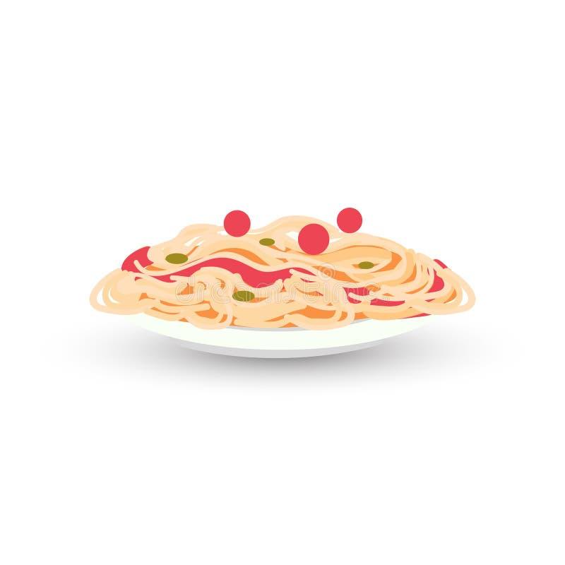 Placa apilada del plato italiano tradicional de los espaguetis del carbonara de las pastas del restaurante de la comida del conce stock de ilustración