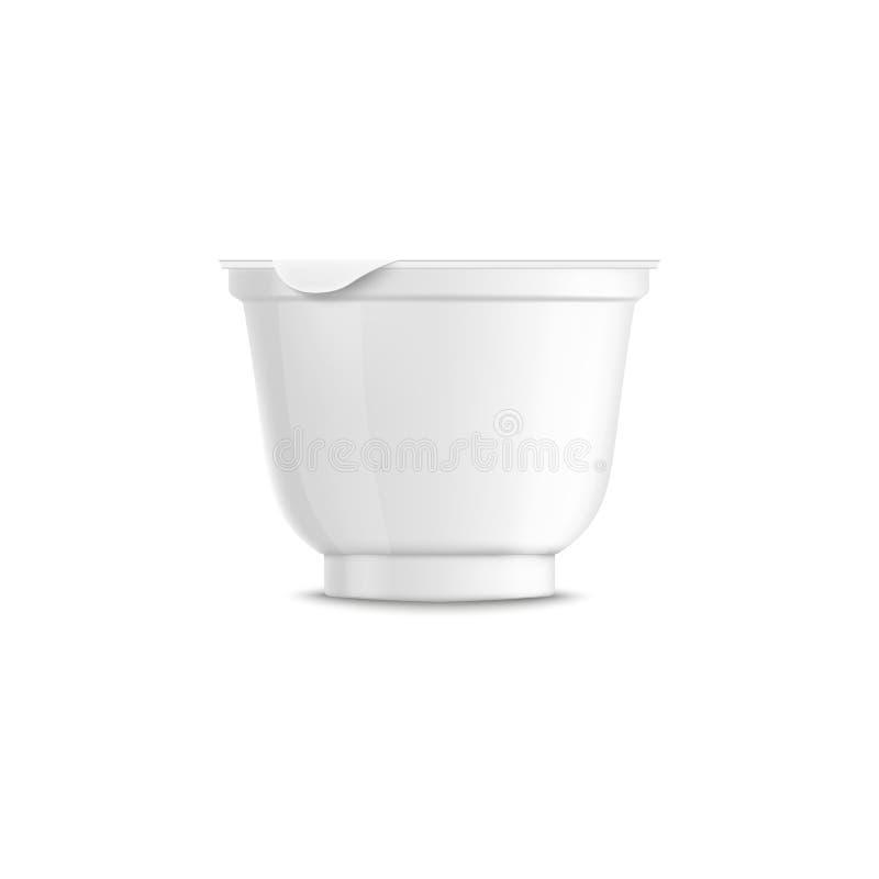 A placa arredondou o molde e o modelo plásticos brancos do recipiente do iogurte com tampa fechado e tampão ilustração do vetor