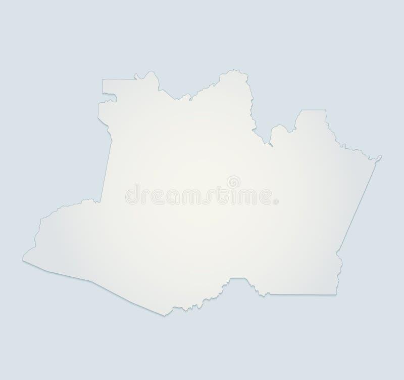 Placa azul do Livro Branco 3D da região de amazon do mapa de Amazónia ilustração stock